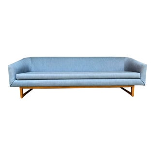 Mid-Century Danish Modern Selig Style Blue Long Sofa For Sale