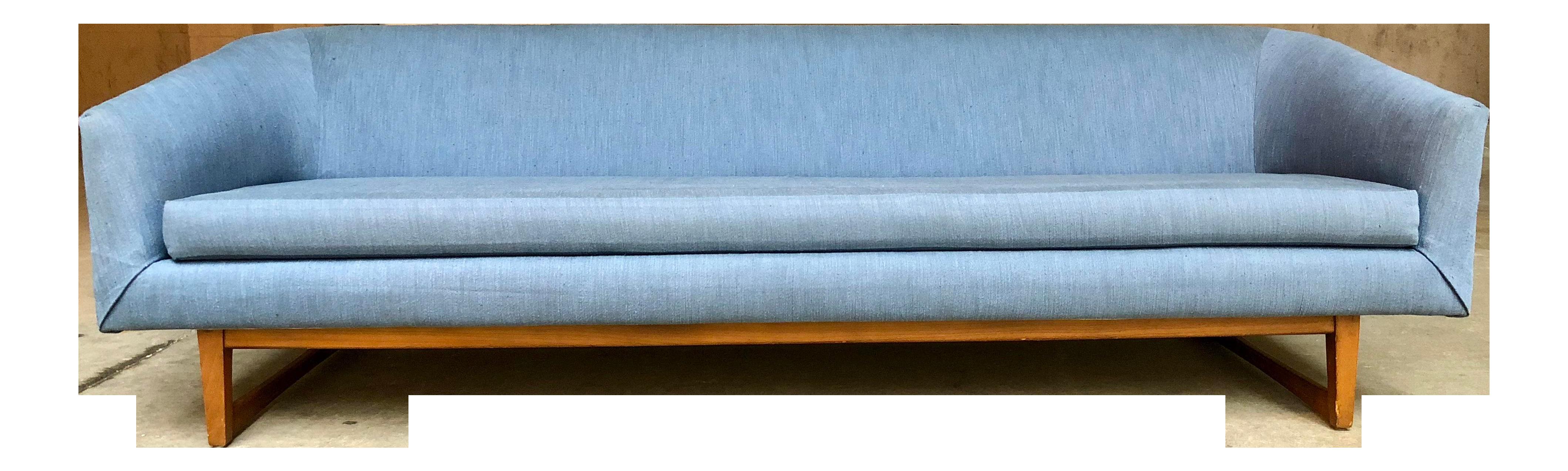 Mid Century Danish Modern Selig Style Blue Long Sofa