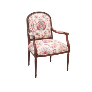 Carved Bergere Chair With Kravet Upholstery For Sale