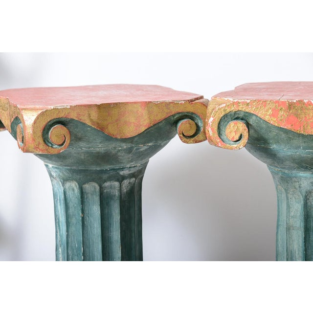 Polychromed Wood Roman Fluted Columns Pillars Pedestal Stools, A-Pair For Sale - Image 4 of 12
