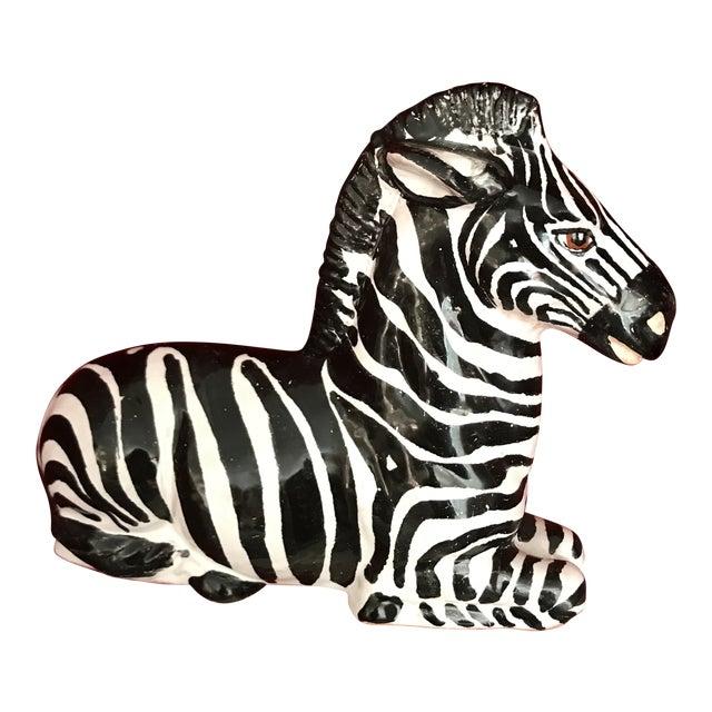 Mid 20th Century Italian Glazed Terra Cotta Zebra For Sale