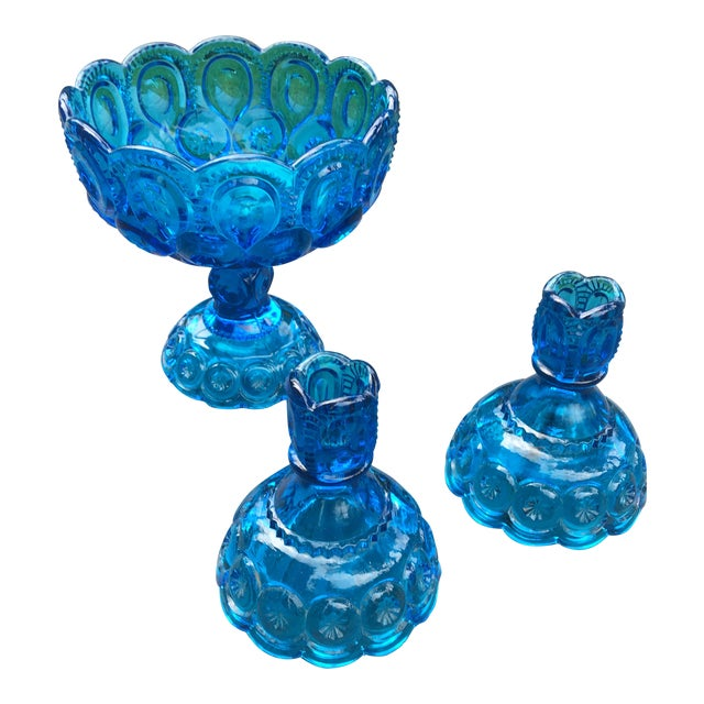 Vintage Mid-Century Electric Blue Glass Dish and Candlestick Holders - Set of 3 For Sale