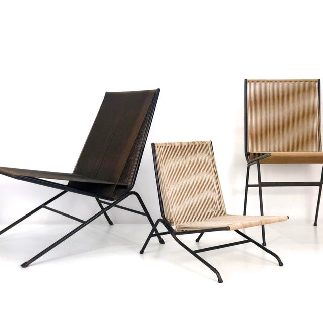 Black Allan Gould String Lounge Chair and Ottoman, 1952 For Sale - Image 8 of 10