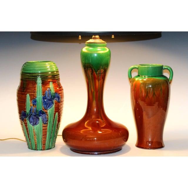 Awaji Pottery Art Nouveau Carved Iris Vase For Sale - Image 10 of 11