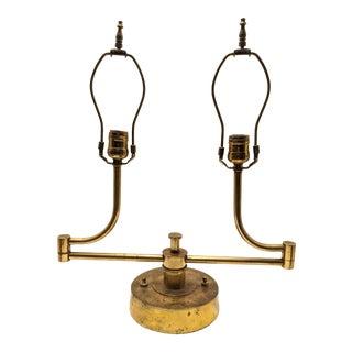 Walter Von Nessen Studio Brass Desk Dual Swing Arm Lamp For Sale