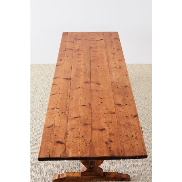 Rustic Italian Baroque Style Pine Trestle Farm Table For Sale - Image 9 of 13