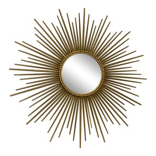 Antique Sunburst Brass Mirror For Sale