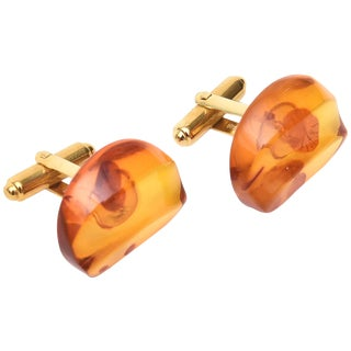 Vintage Amber Lucite Cufflinks - a Pair For Sale
