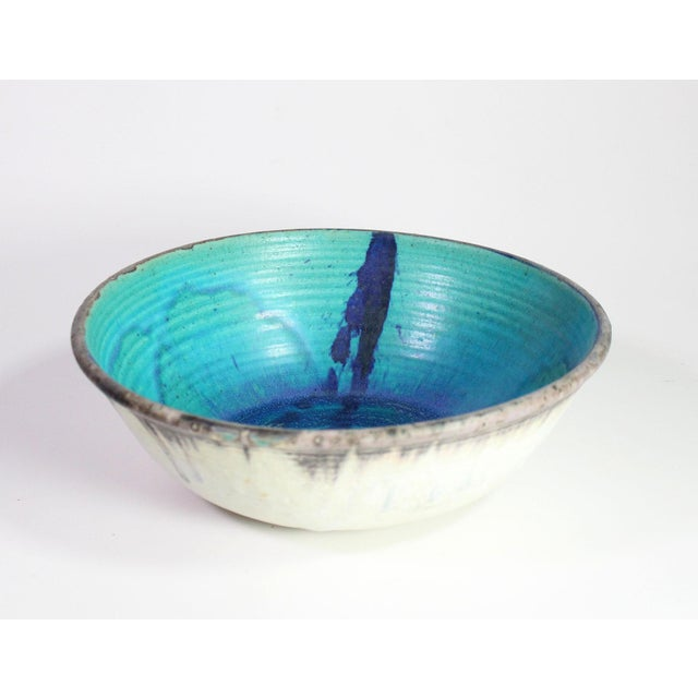 1970's Turquoise & Royal Blue Hand Spun Studio Pottery Bowl, Artist Signed For Sale - Image 4 of 4