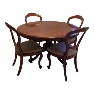 19th Century Victorian Tilt-Top Mahogany Table & Balloon-Back Chairs - 5 Pieces For Sale