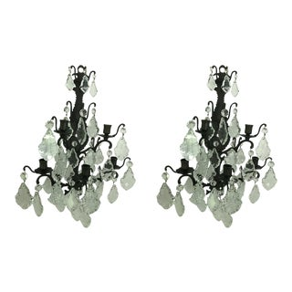 Franch Crystal Wall Candle Sconces - a Pair For Sale