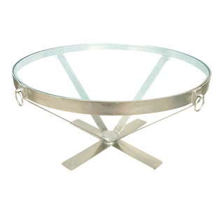Iron Metal Base Coffee Table With Round/Circle Glass Top For Sale