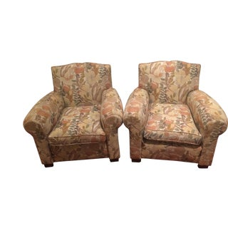 French Art Deco Club Chairs in Mid-Century Modern Fabric - A Pair