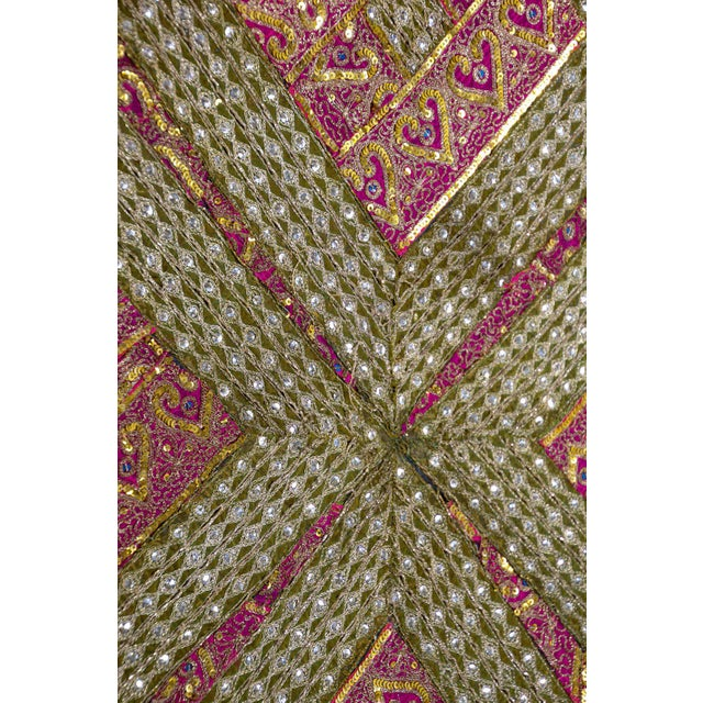 1960s Mughal Style Metal Threaded Tapestry Framed from Rajasthan, India For Sale - Image 5 of 13