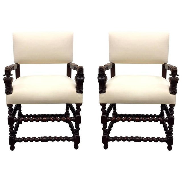 Pair of Franco Flemish Baroque Style Walnut Armchairs For Sale - Image 9 of 9
