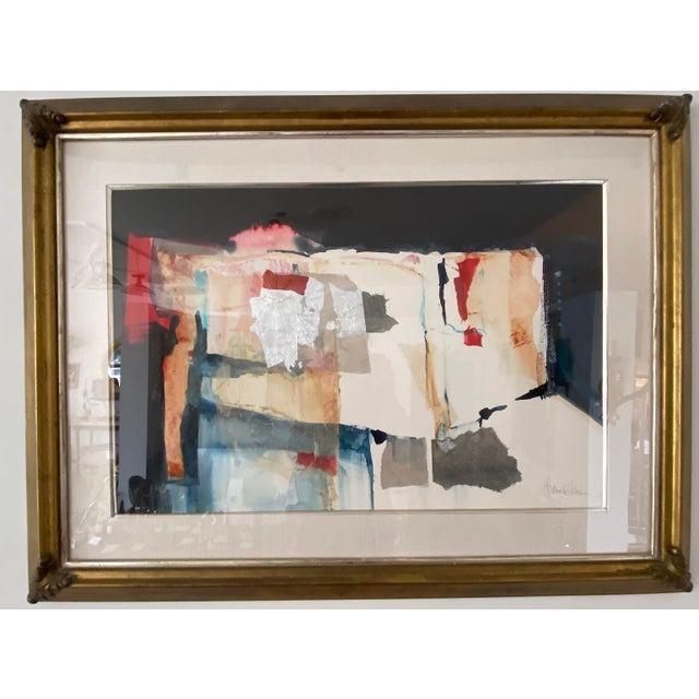 Vintage Harold Larson Painting Abstract Mixed Media Collage For Sale - Image 13 of 13