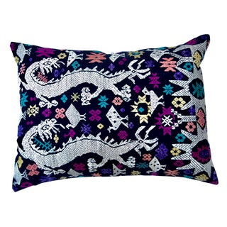 Embroidered Laotian Tribal Dragon Pillow For Sale
