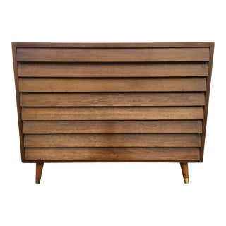 1960s Mid-Century Modern Louvered Front Walnut Credenza For Sale