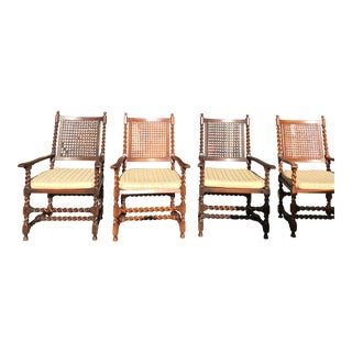 Vintage Carved Wood Chairs-Set of 4 For Sale