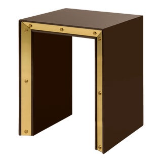 Small Edge Side Table in Brown / Brass - Flair Home for The Lacquer Company For Sale