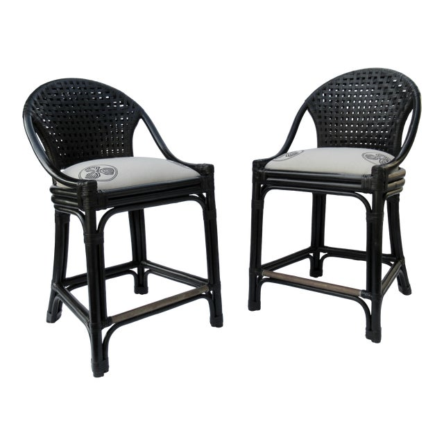 C.1996 Palecek Black Leather Strapped Rattan Counter Stools - a Pair For Sale
