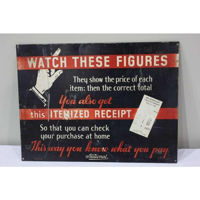 """1930's original American advertising sign """" Watch These Figures """" for National Cash Register Co."""