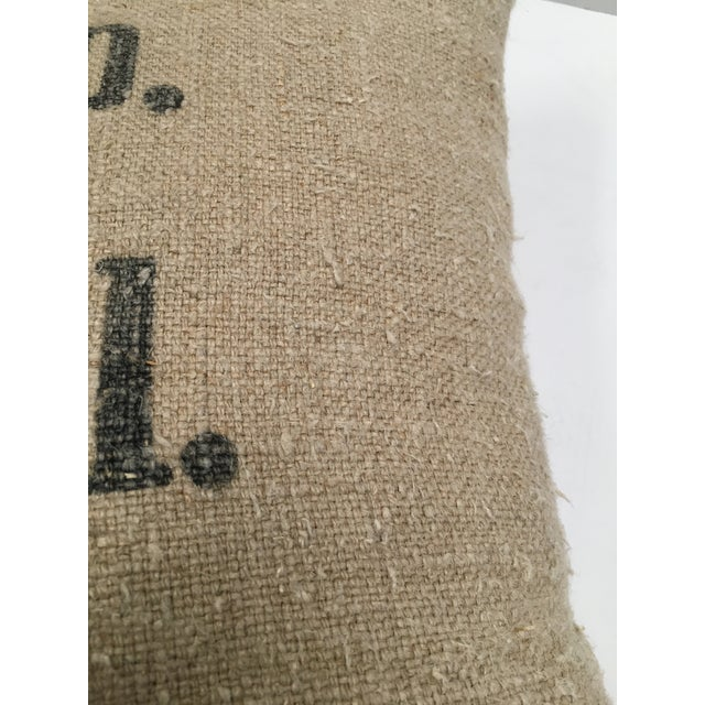 2010s Custom Swiss 1943 Grain Sack Pillows -- a Pair For Sale - Image 5 of 8