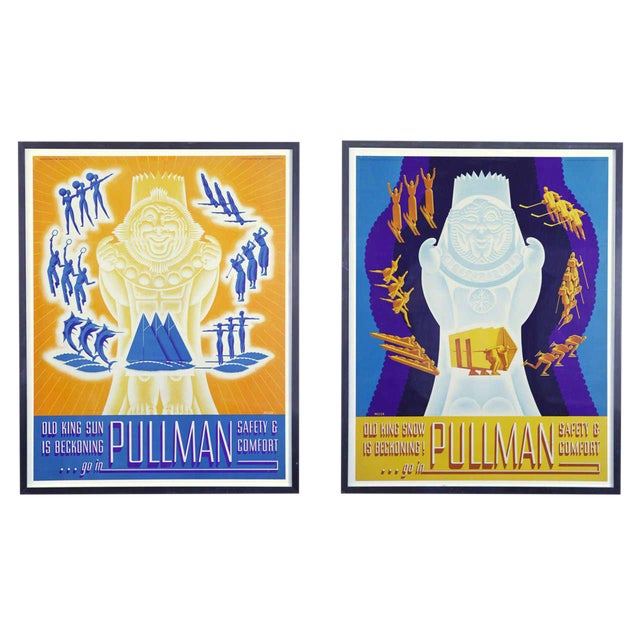 Pair of 1936 Original Art Deco Pullman Seasonal Travel Posters by William Welsh For Sale