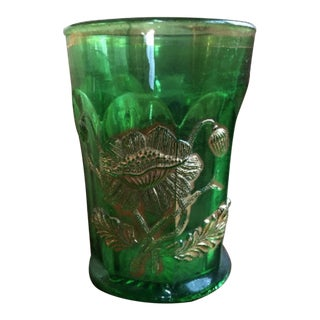 Mid 20th Century Vintage Gold Plated Green Depression Glass For Sale