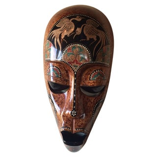 Bali Tribal Mask With Mother of Pearl Inlay For Sale