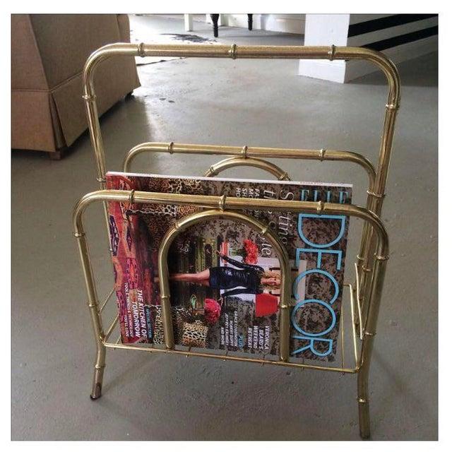 Vintage Brass Bamboo Magazine Holder For Sale - Image 5 of 5