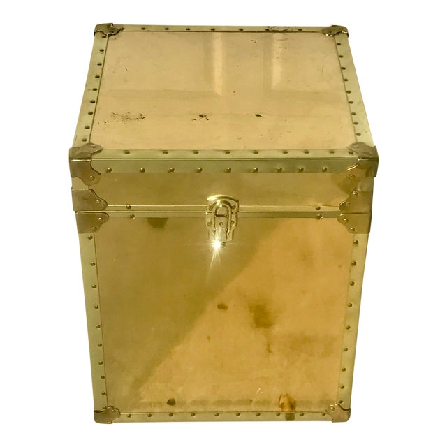 1960s Hollywood Regency Small Gold Metal Trunk For Sale