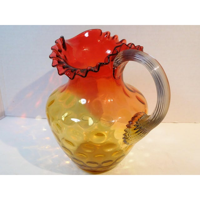Antique Mt. Washington Glass Company Amber Rose Art Glass Pitcher, Circa 1880 For Sale - Image 9 of 13