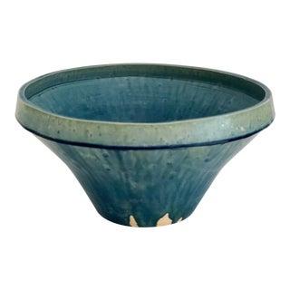 Boho Chic Cerulean Glazed Pottery Bowl