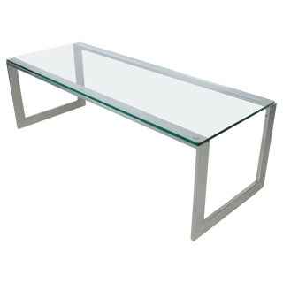 Pace Collection Chrome and Glass Cocktail Table For Sale
