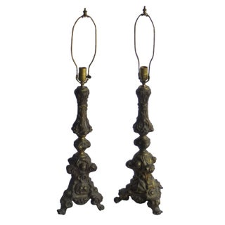 Antique French Brass Repousse Celestial Lamps