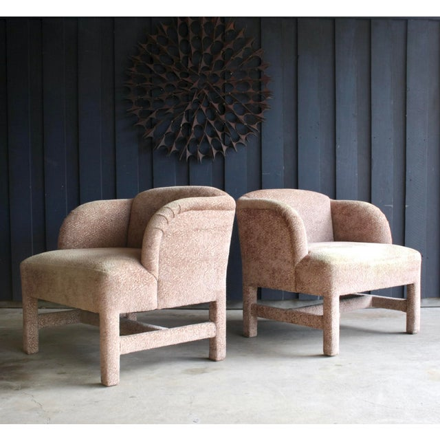 Textured, Parsons-style 1980s Contemporary lounge chairs in blush upholstery. Fantastic form in an updated wingback style...