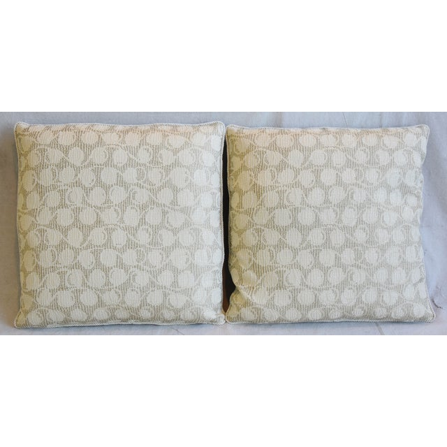 Pair of large reversible custom tailored pillows in unused embroidered silk and cotton Italian fabric. New Spinneybeck...