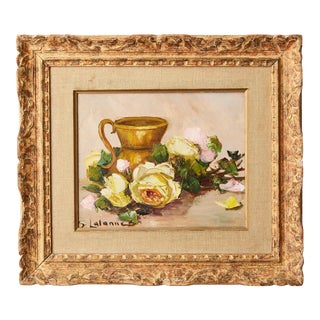Vintage French Still Life of Roses by Simone Lalanne Bascle, Circa 1940s For Sale