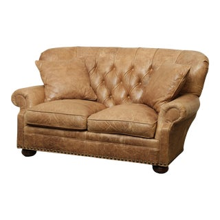 McKinley Tufted Distressed Brown Leather Loveseat For Sale