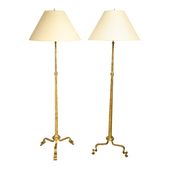 Gilt Wrought Iron Floor Lamps - a Pair For Sale