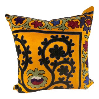 Custom Pillow Cut From a Vintage Hand Embroidered Suzani Textile, Uzbekistan For Sale