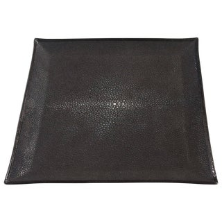 Italian Black Shagreen Tray For Sale