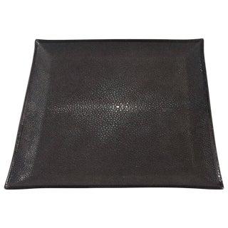 Italian Black Shagreen Tray by Fabio Ltd For Sale
