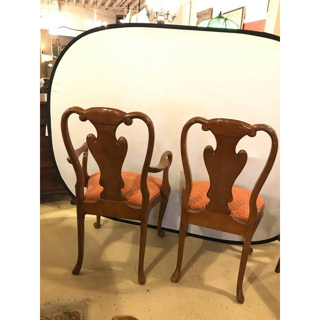 Set of Ten Queen Anne Style Dining Chairs, Pair of Arm and Eight Side Chairs For Sale - Image 4 of 11