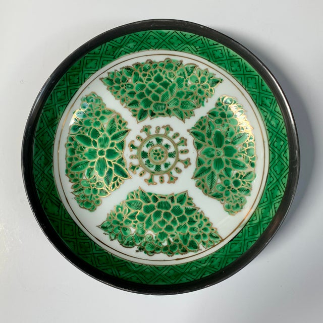 Vintage Green & White Porcelain Bowl / Catchall Encased in Pewter For Sale In Chicago - Image 6 of 7
