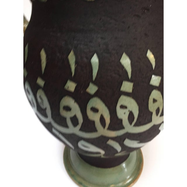 Superior Pair Of Green Moroccan Ceramic Vases With Chiseled Arabic