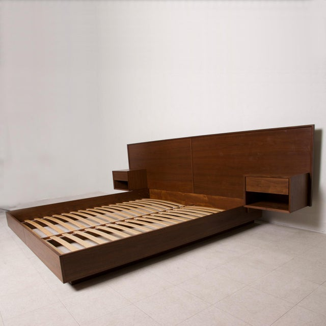 Brown Modern Walnut King Size Platform Bed With Floating Nightstands For Sale - Image 8 of 11