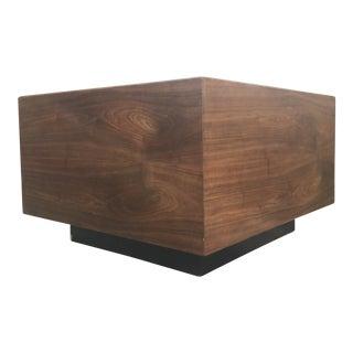 Mid-Century Modern Walnut Cube Coffee Table For Sale