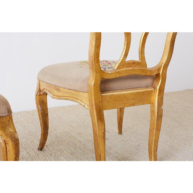 Set of Four Italian Giltwood Venetian Style Dining Chairs For Sale In San Francisco - Image 6 of 13
